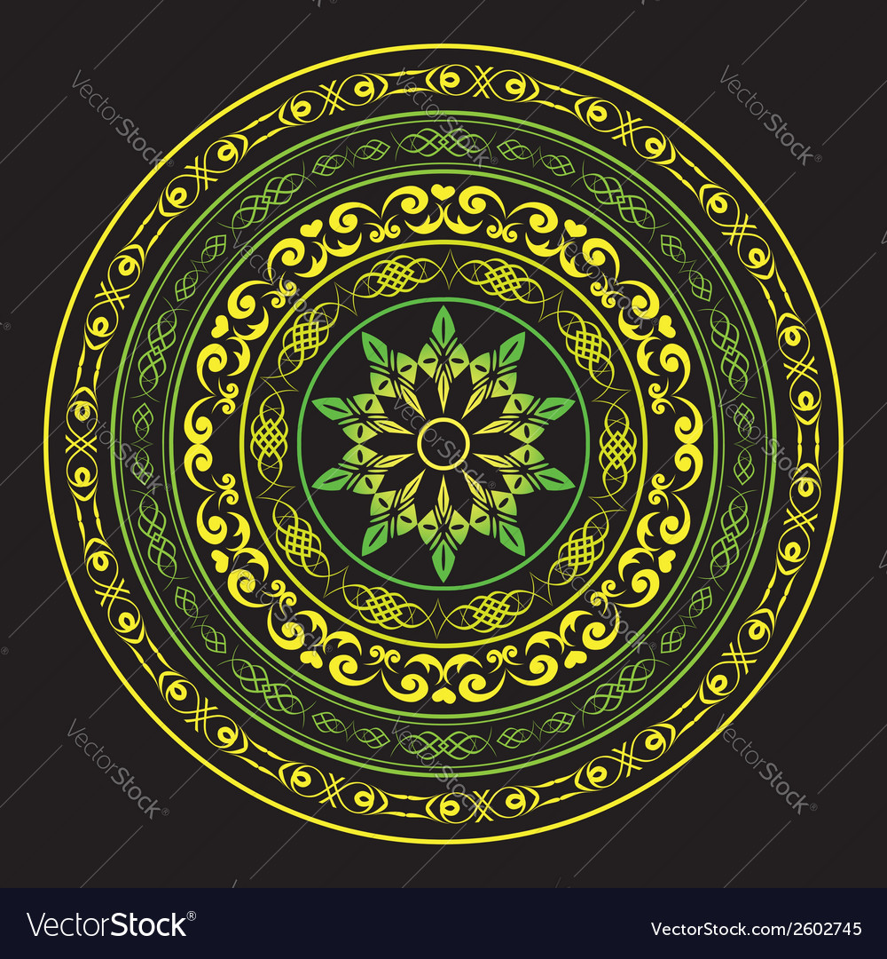 Yellow and green round ornament on black vector | Price: 1 Credit (USD $1)