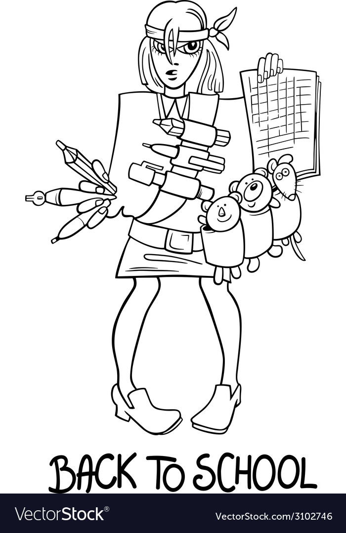 Back to school cartoon coloring page vector | Price: 1 Credit (USD $1)
