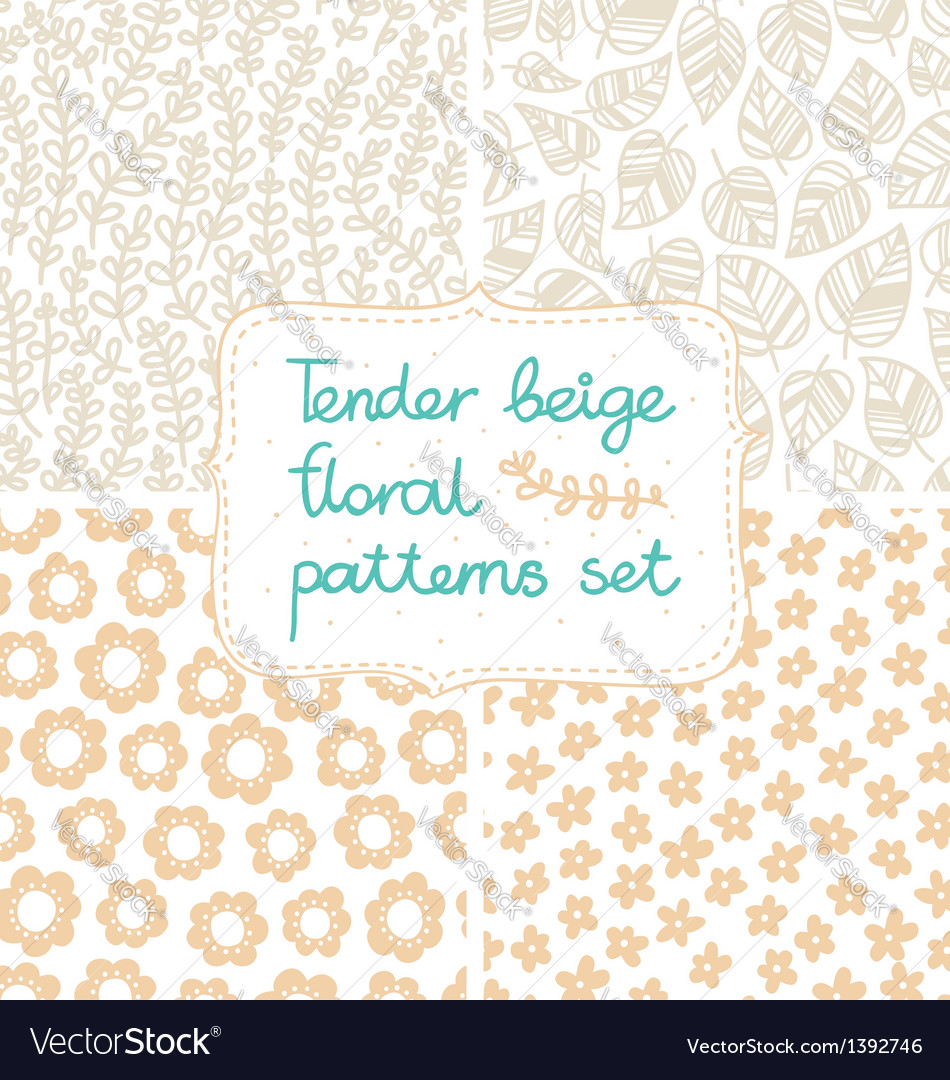 Beige patterns set vector | Price: 1 Credit (USD $1)