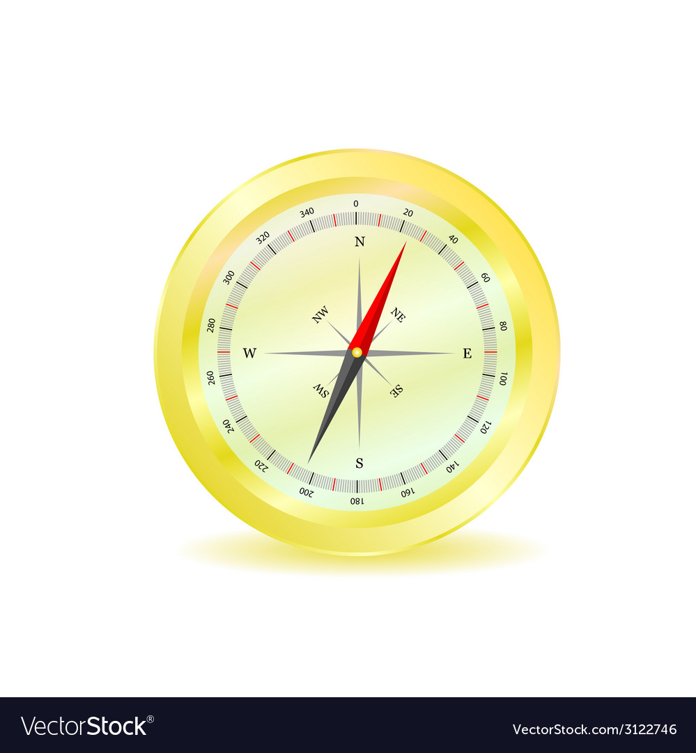Compass in yellow color vector | Price: 1 Credit (USD $1)