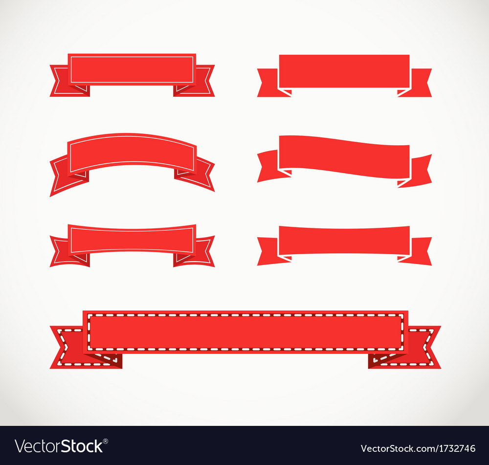 Different retro style red ribbons vector | Price: 1 Credit (USD $1)