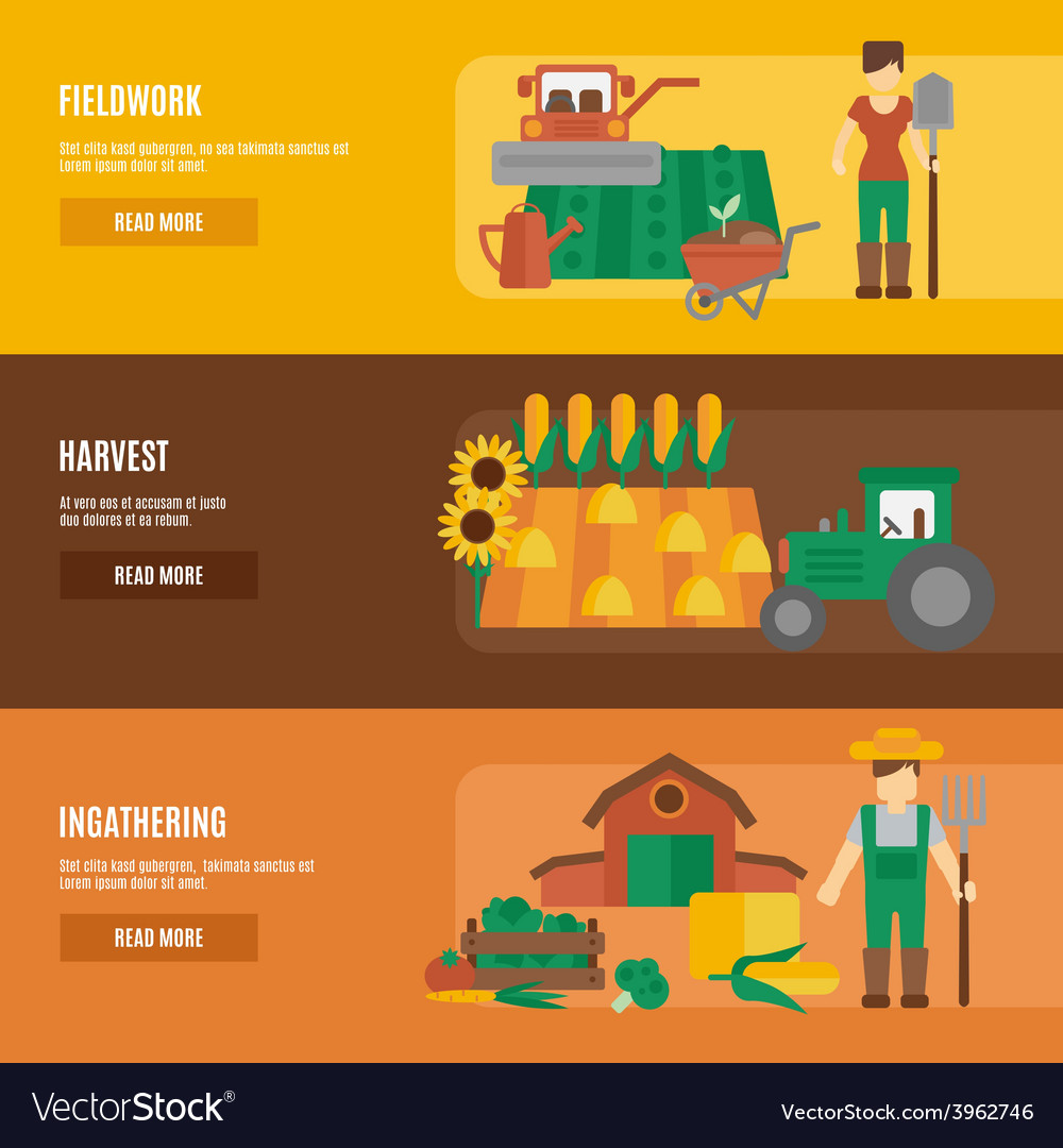 Farmer land flat banners set vector | Price: 1 Credit (USD $1)