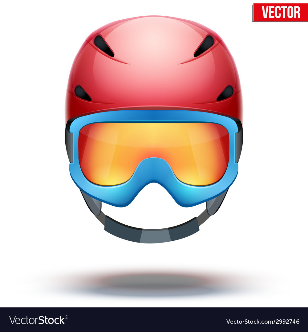 Front view of classic red ski helmet and blue vector | Price: 1 Credit (USD $1)