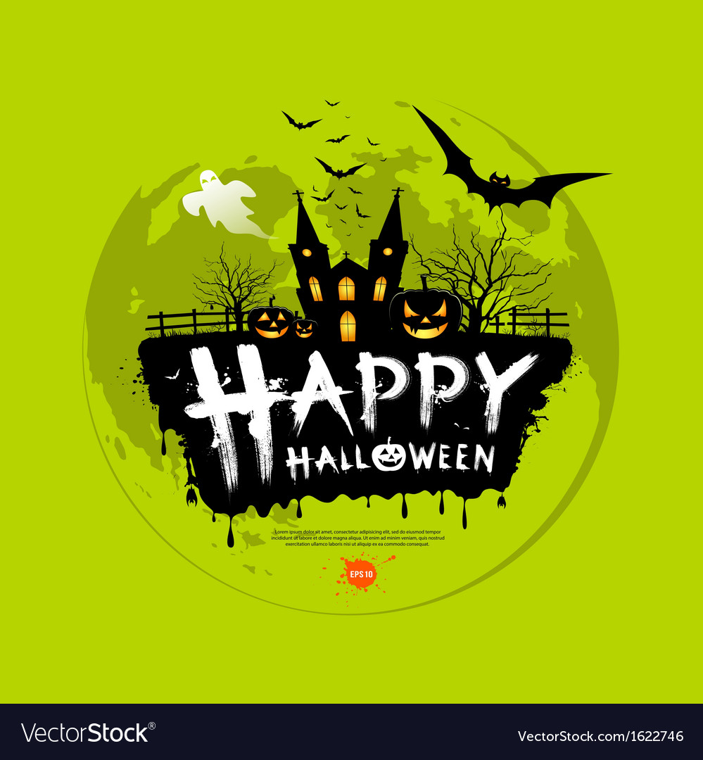 Happy halloween message design on green background vector | Price: 3 Credit (USD $3)