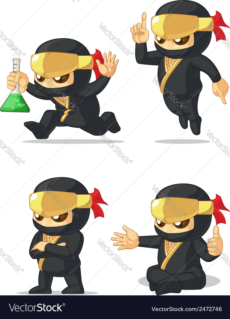 Ninja customizable mascot 12 vector | Price: 1 Credit (USD $1)