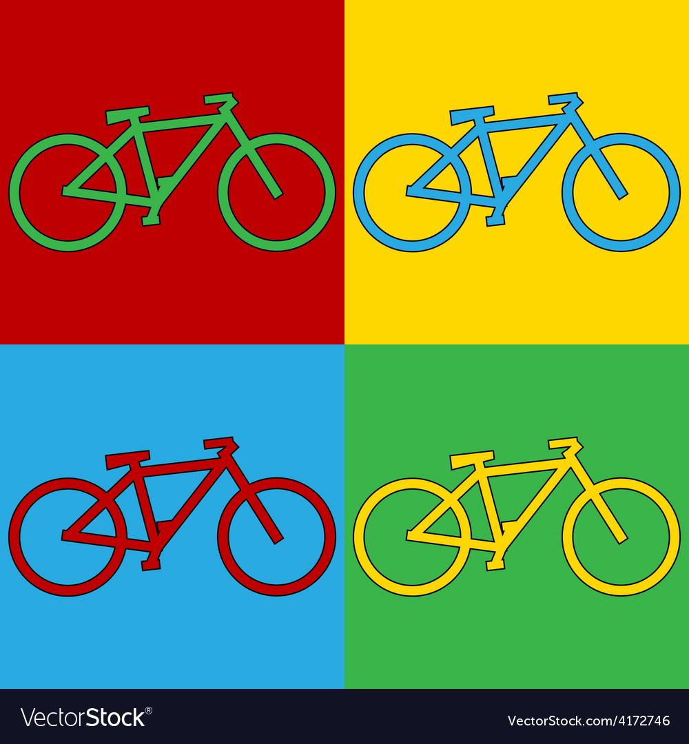 Pop art bike icons vector | Price: 1 Credit (USD $1)