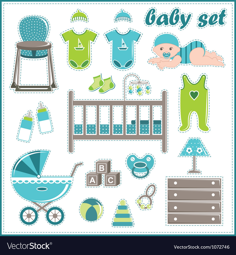 Scrapbook elements with baby boy things vector | Price: 1 Credit (USD $1)