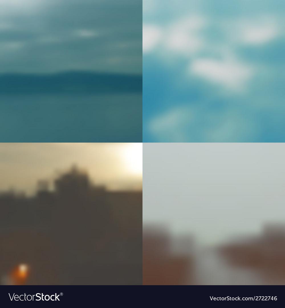Set of blurred backgrounds landscape vector | Price: 1 Credit (USD $1)
