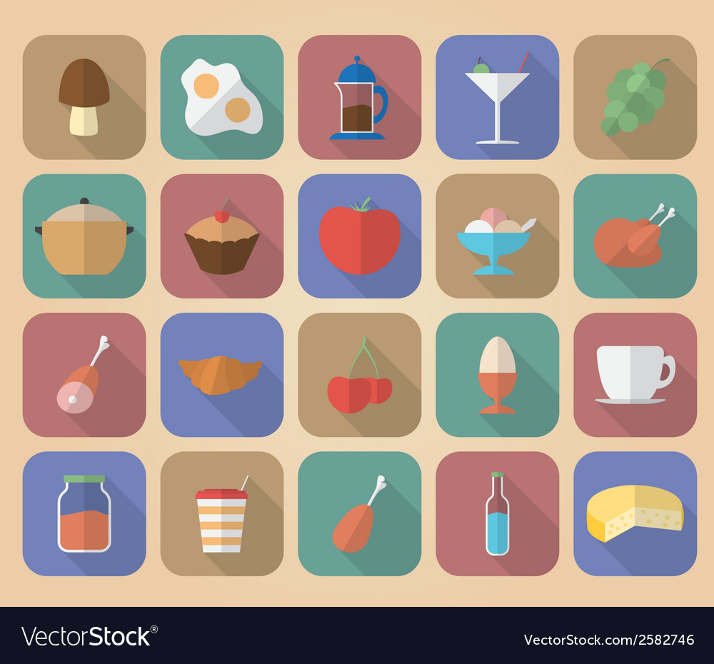 Set of food and drinks icons modern flat style vector | Price: 1 Credit (USD $1)