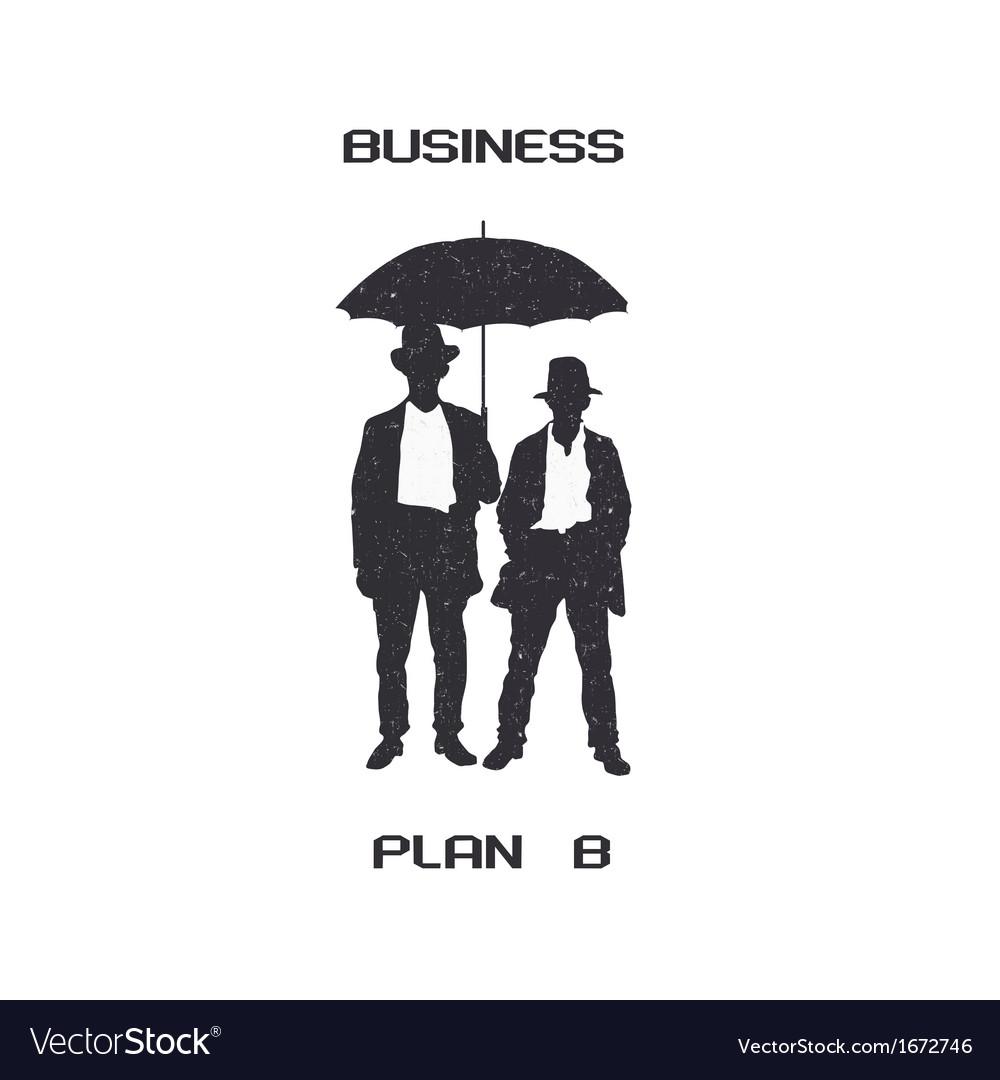 Silhouettes of retro businessmen with umbrella vector | Price: 1 Credit (USD $1)