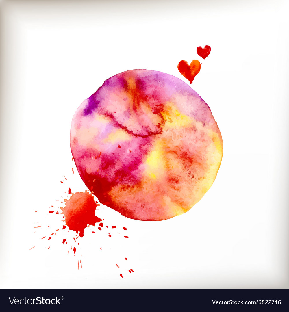 Watercolor colorful blot and heart vector | Price: 1 Credit (USD $1)