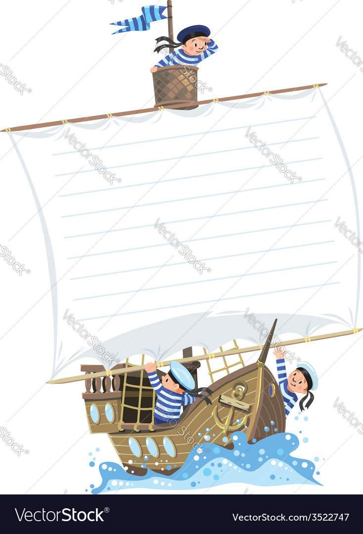 Banner with ship and happy sailors vector | Price: 1 Credit (USD $1)