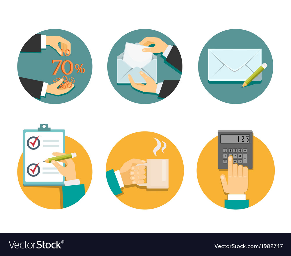 Business hands with office objects vector | Price: 1 Credit (USD $1)