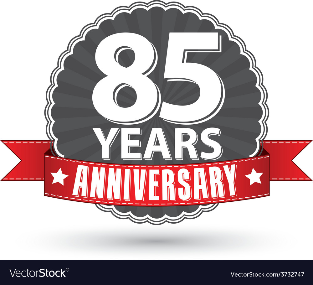 Celebrating 85 years anniversary retro label with vector | Price: 1 Credit (USD $1)