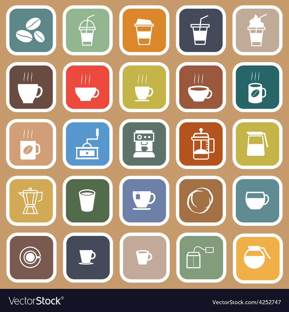 Coffee flat icons on brown background vector | Price: 1 Credit (USD $1)