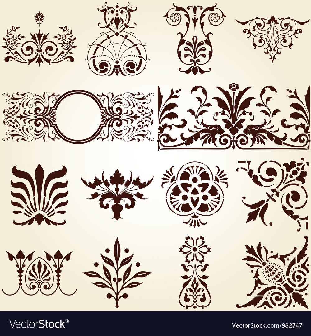 Decorative ornaments design elements corners vector | Price: 1 Credit (USD $1)
