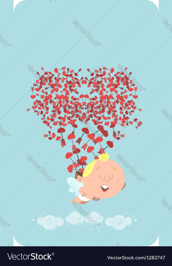 Flying cupid vector | Price: 1 Credit (USD $1)