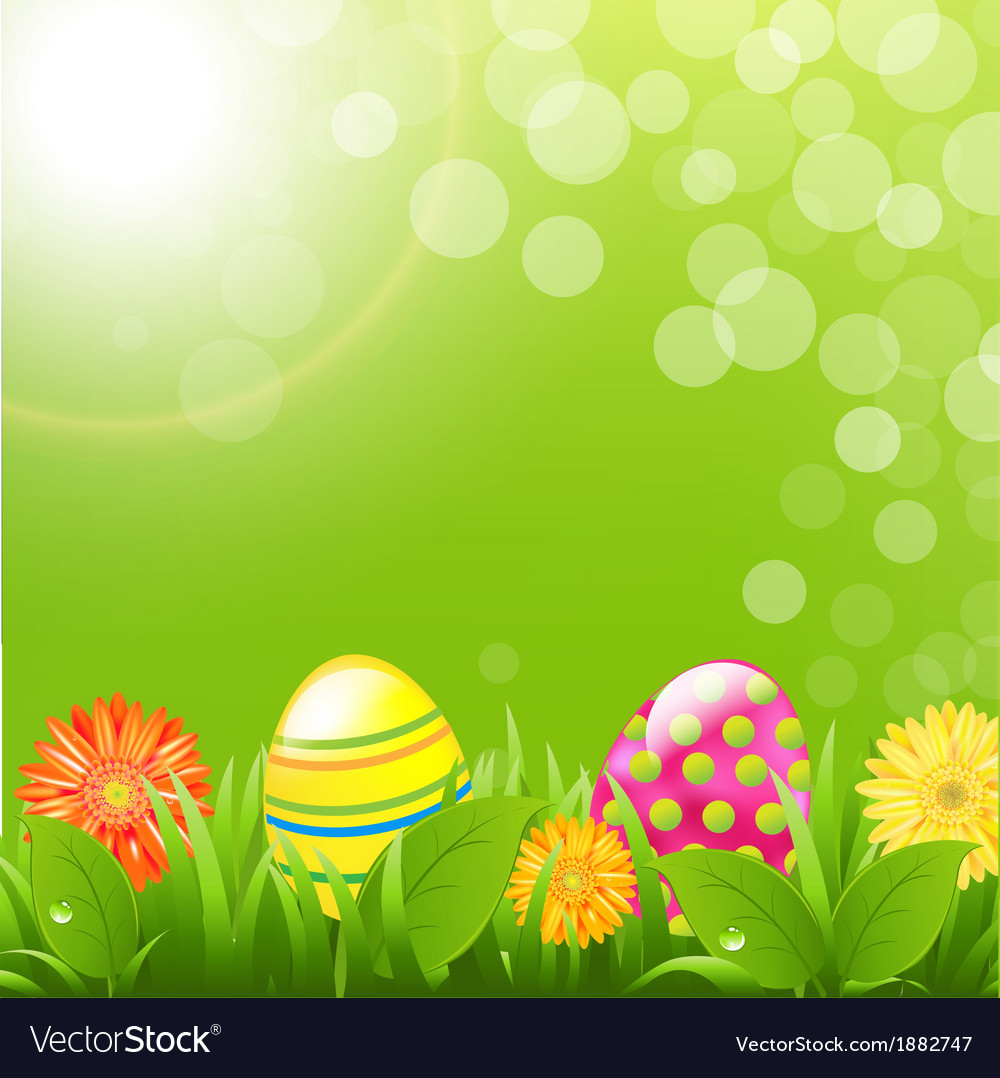 Green border with grass and color eggs vector | Price: 1 Credit (USD $1)