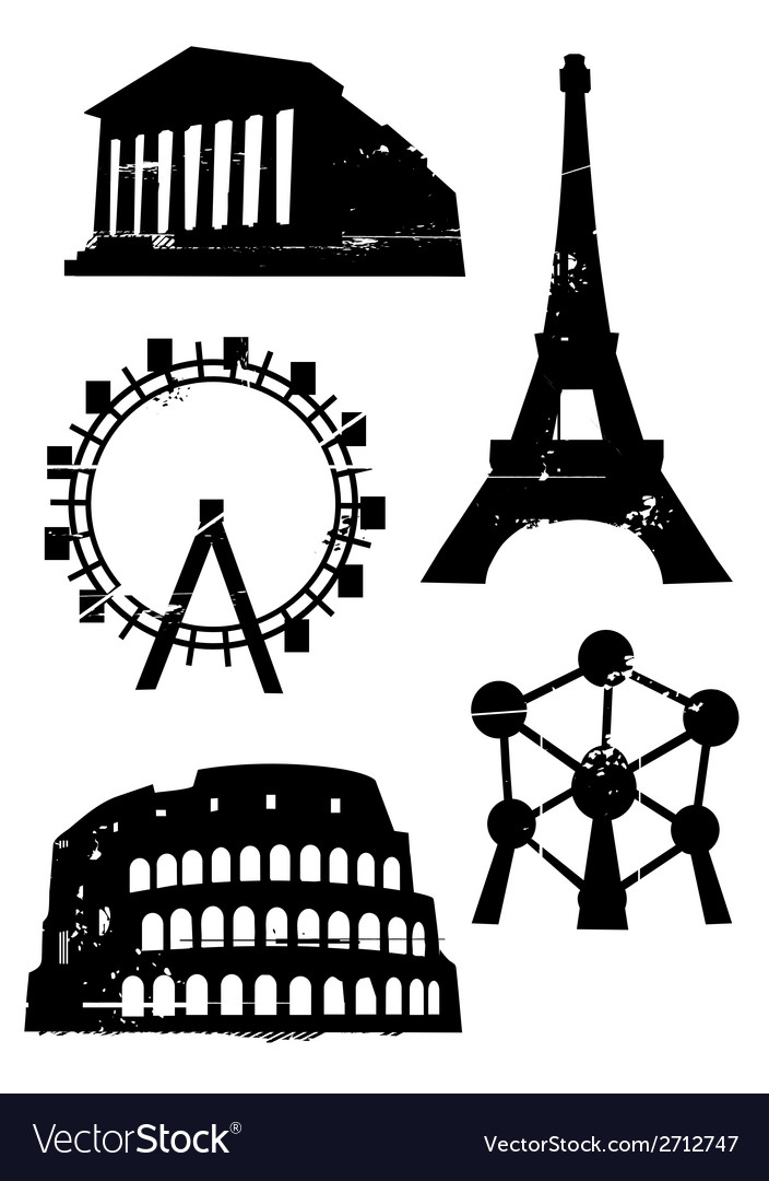 Grunge famous european building vector | Price: 1 Credit (USD $1)