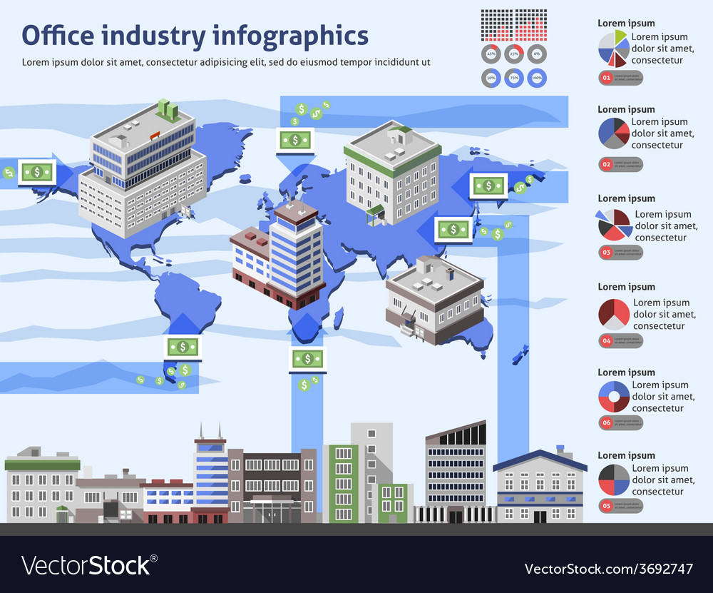 Office industry infographics vector | Price: 1 Credit (USD $1)