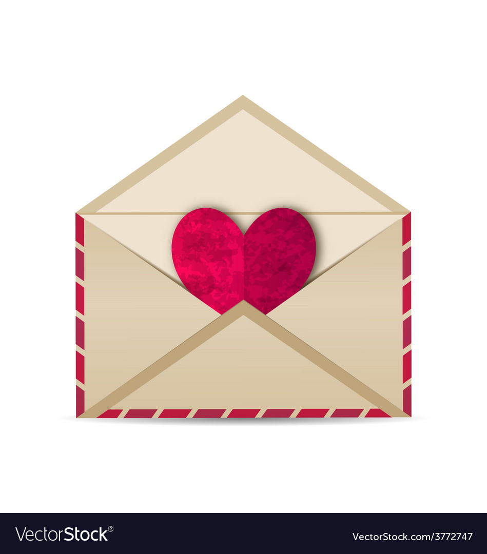 Open vintage envelope with paper grunge heart - vector | Price: 1 Credit (USD $1)