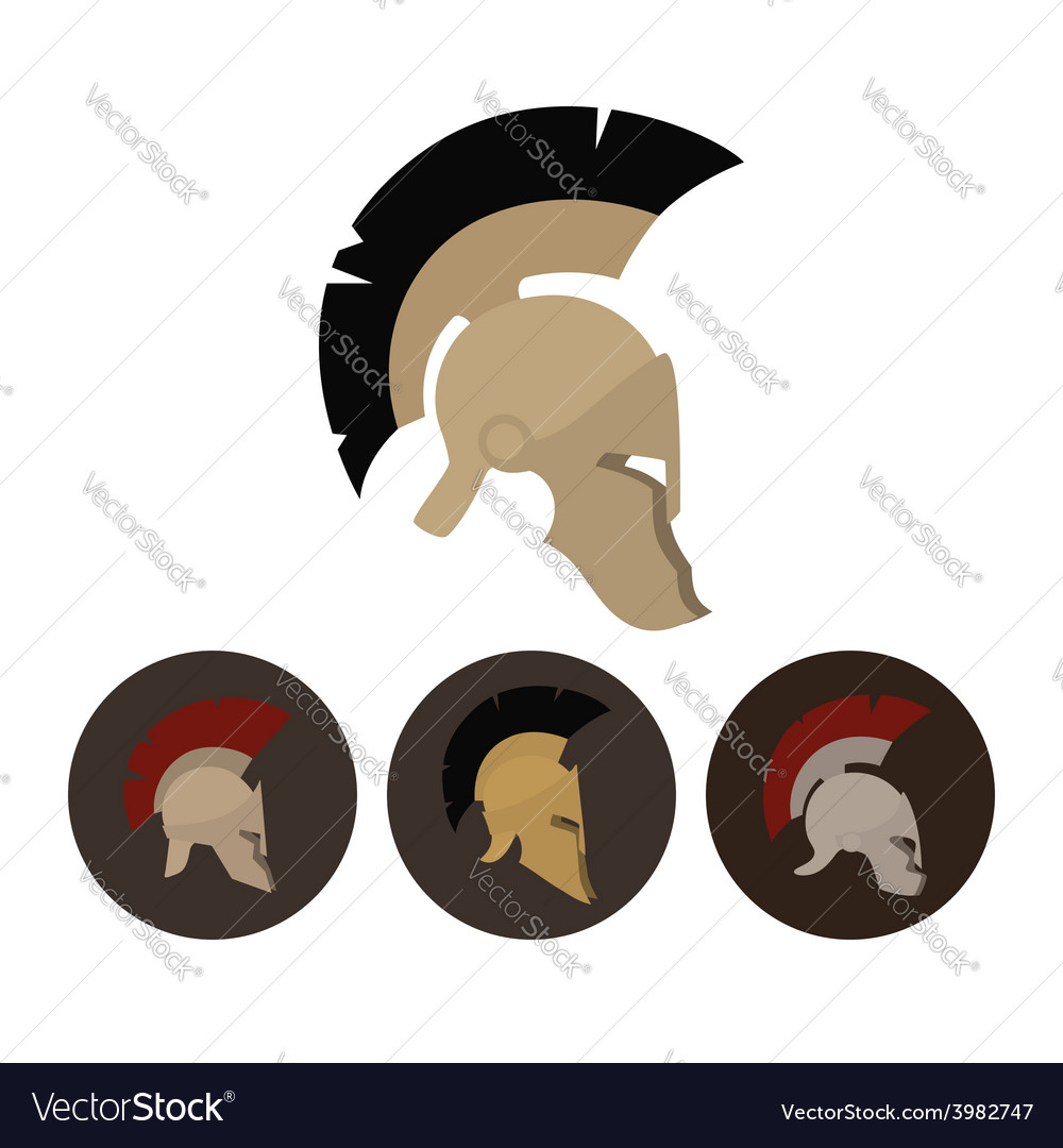 Set of four antique helmets vector | Price: 1 Credit (USD $1)