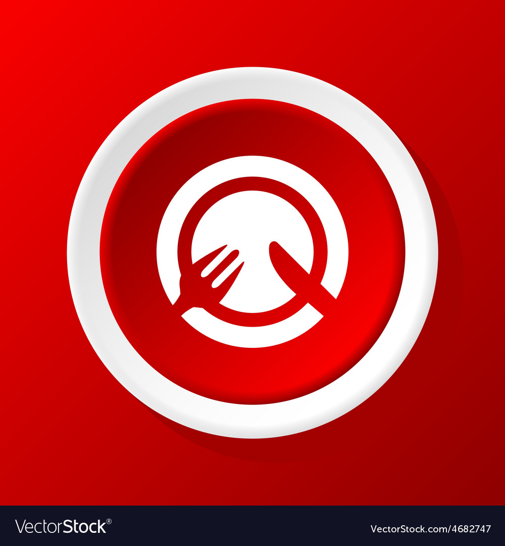 Tableware icon on red vector | Price: 1 Credit (USD $1)