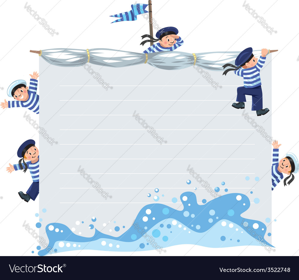 Banner or card with happy sailors vector | Price: 1 Credit (USD $1)