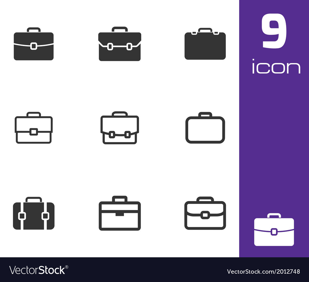 Black briefcase icons set vector | Price: 1 Credit (USD $1)