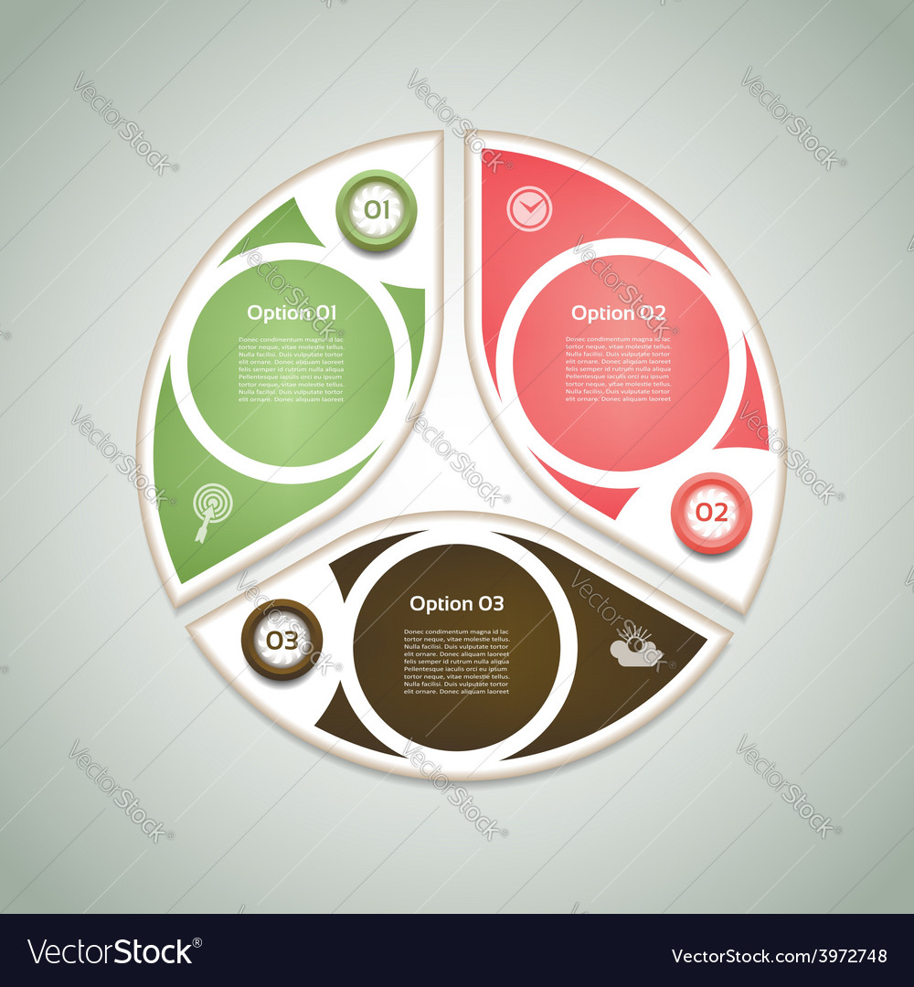 Cyclic diagram with three steps and icons eps 10 vector | Price: 1 Credit (USD $1)