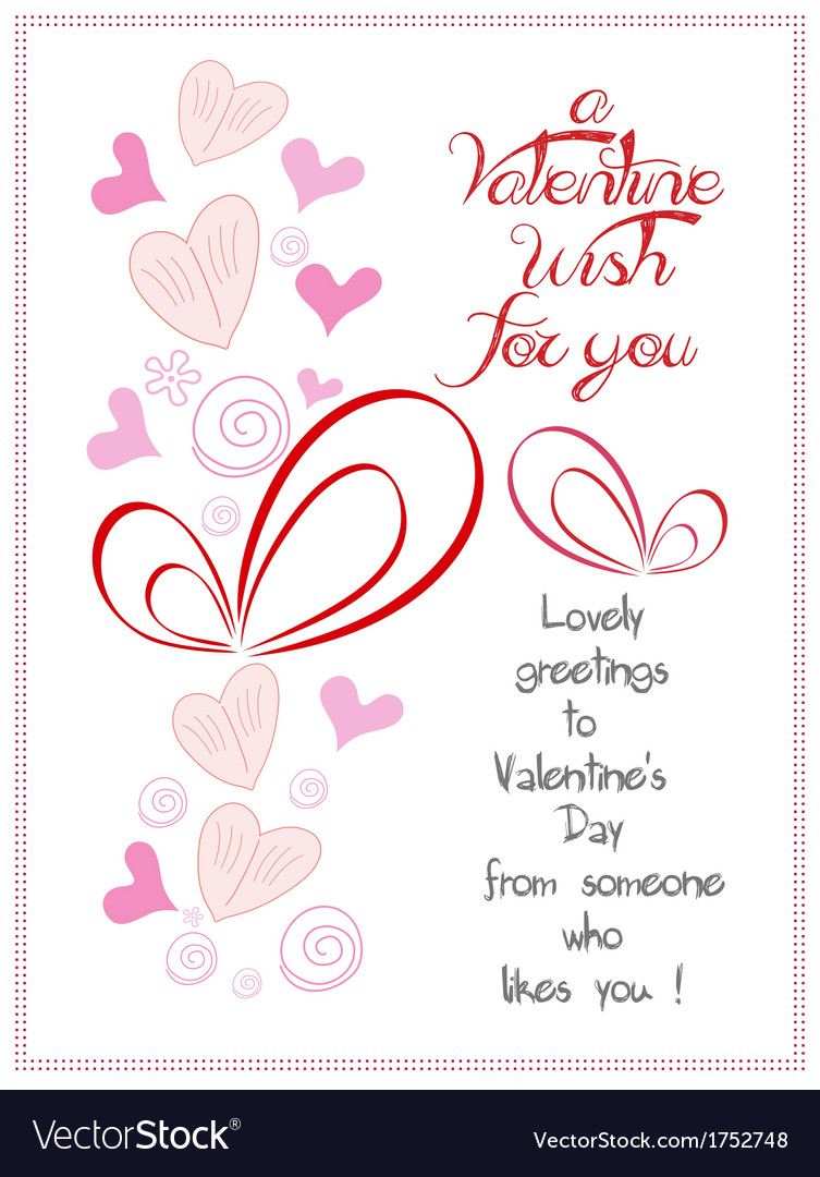 Happy valentine wish for you vector | Price: 1 Credit (USD $1)