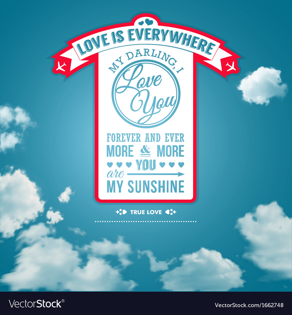 Love you poster in retro style on a summer sky vector | Price: 1 Credit (USD $1)