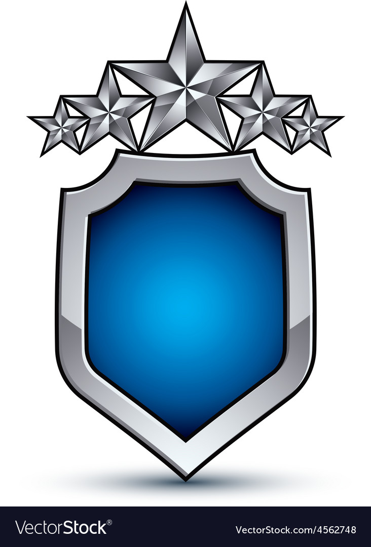 Majestic blue emblem with five silver decorative vector | Price: 1 Credit (USD $1)