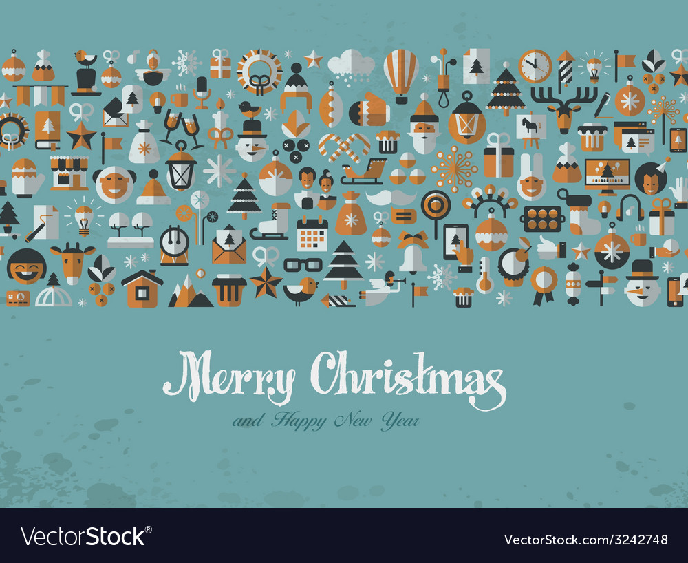 Merry christmas greeting card icons vector | Price: 1 Credit (USD $1)