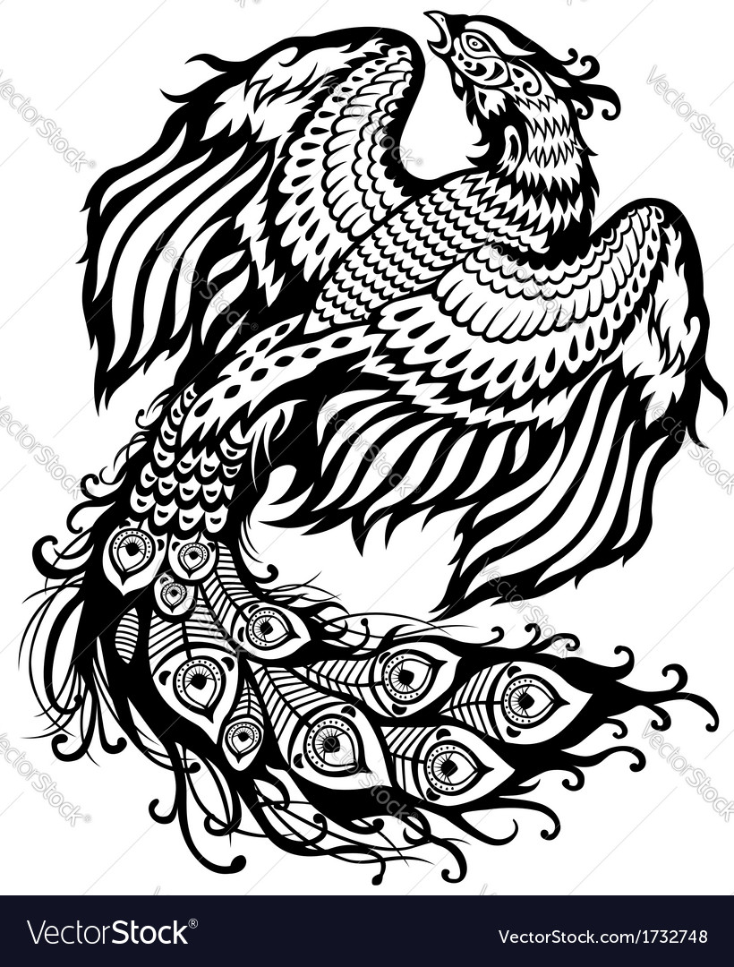 Phoenix black white vector | Price: 1 Credit (USD $1)