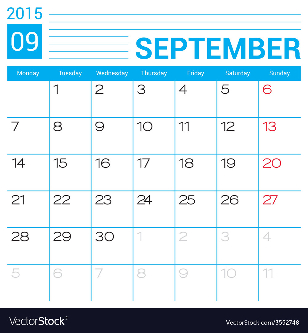 September 2015 calendar page template vector | Price: 1 Credit (USD $1)