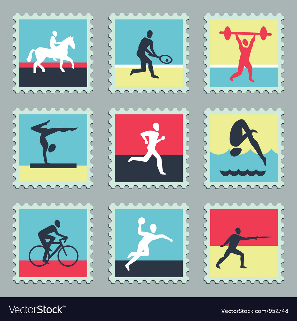 Set of stamps with sport icons vector | Price: 1 Credit (USD $1)