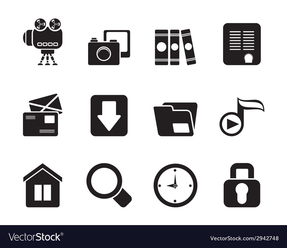 Silhouette computer and website icons vector | Price: 1 Credit (USD $1)