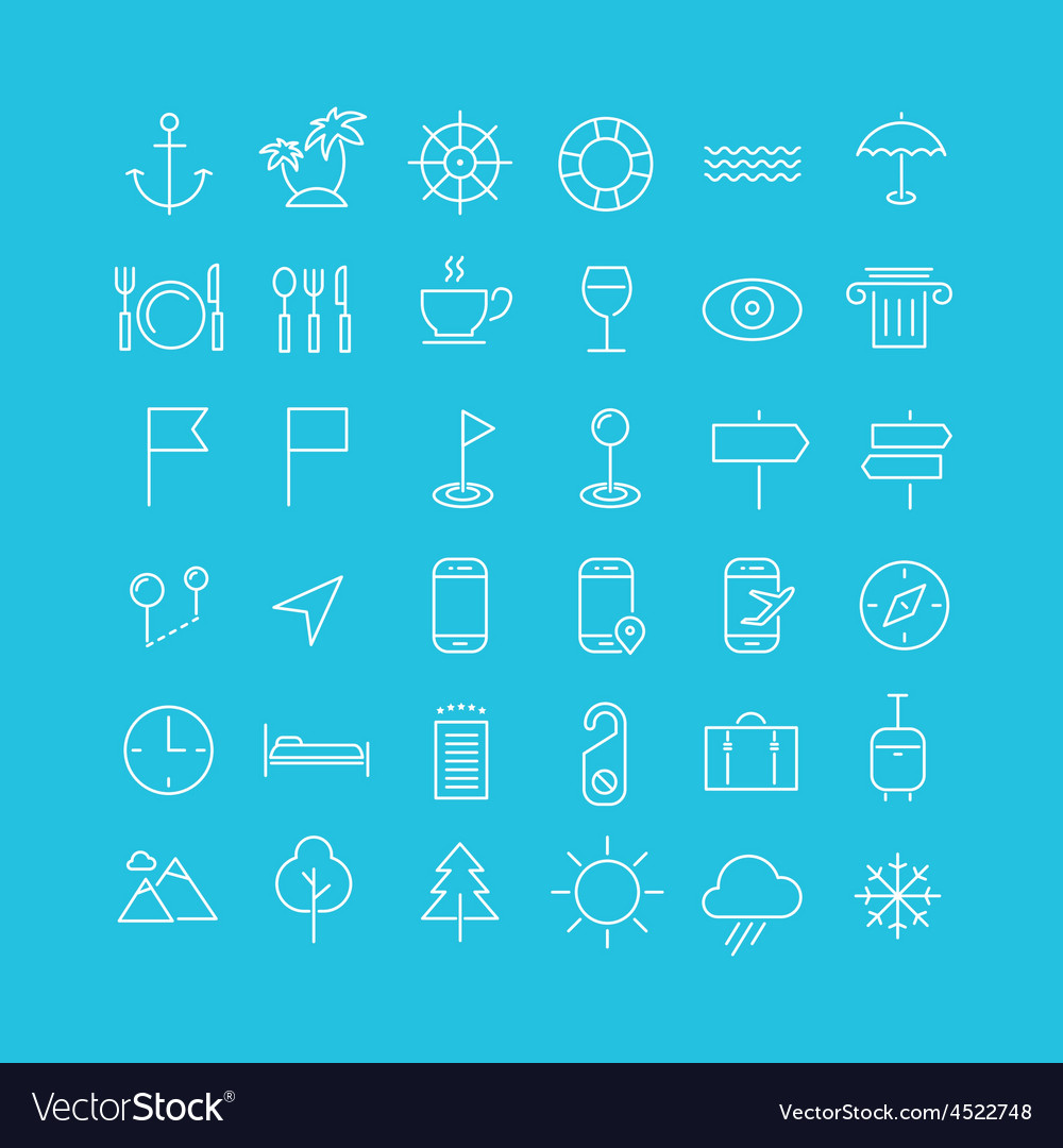 Travel tourism and weather icons set 2 vector | Price: 1 Credit (USD $1)