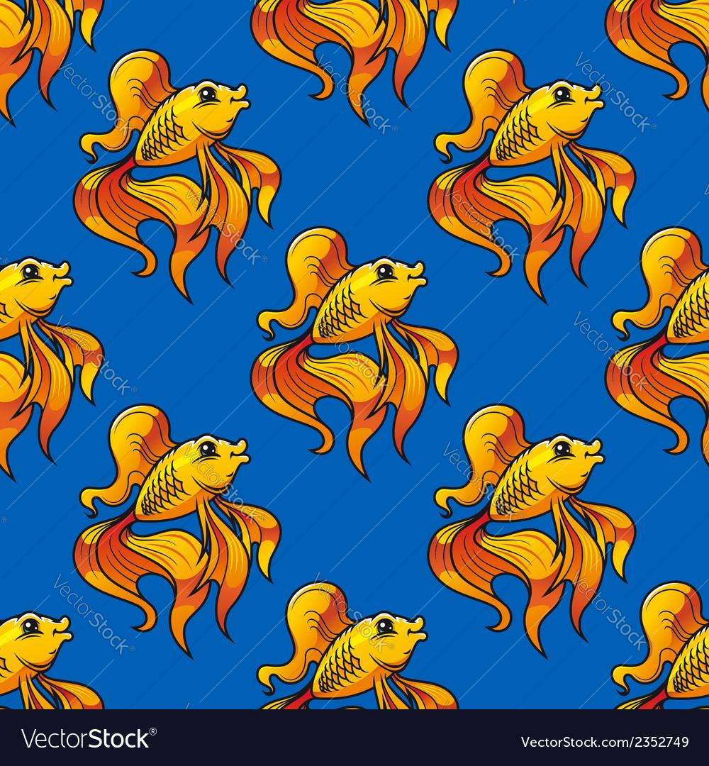 Beautiful ornamental goldfish seamless pattern vector | Price: 1 Credit (USD $1)