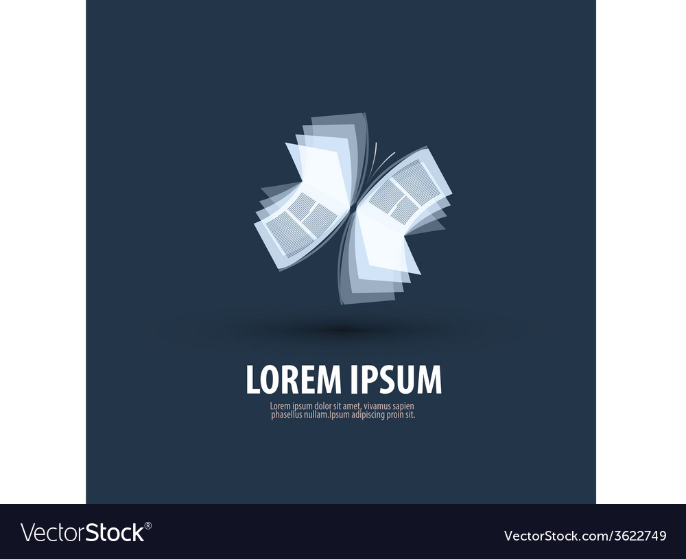 Book butterfly logo icon sign emblem template vector | Price: 1 Credit (USD $1)