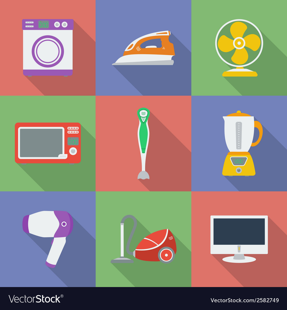 Colorful icon set of household appliance vector | Price: 1 Credit (USD $1)