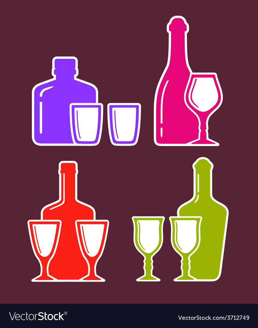 Colorful set with alcohol bottles and glasses vector | Price: 1 Credit (USD $1)