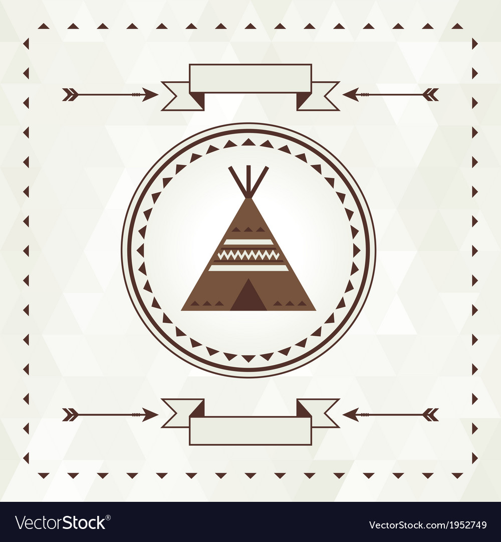 Ethnic background with wigwam in navajo design vector | Price: 1 Credit (USD $1)