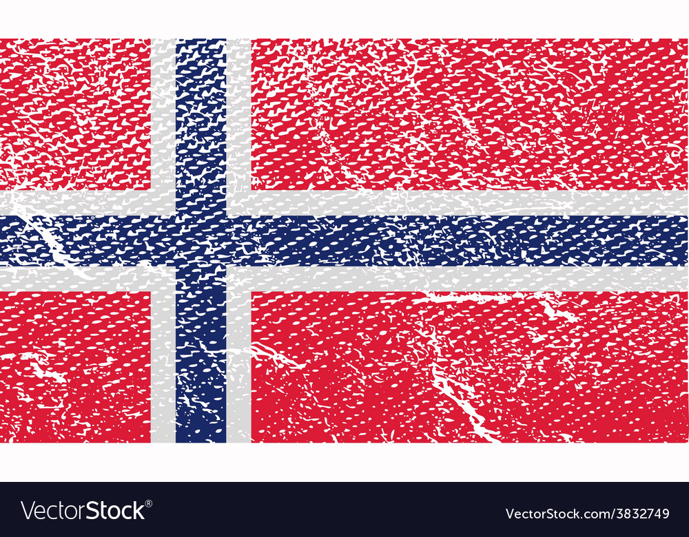 Flag of norway with old texture vector | Price: 1 Credit (USD $1)