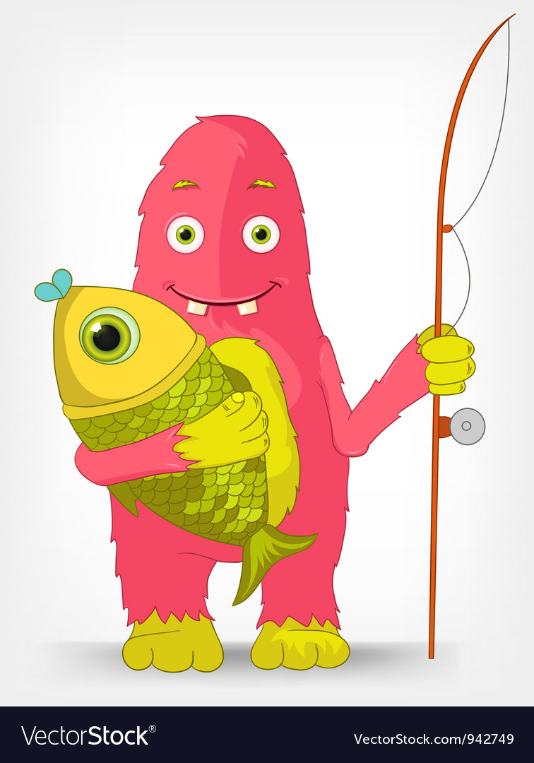 Funny monster fisherman vector   Price: 3 Credit (USD $3)