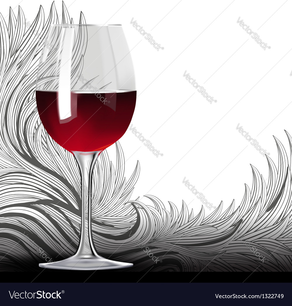 Glass of red wine on the floral backgound vector | Price: 1 Credit (USD $1)