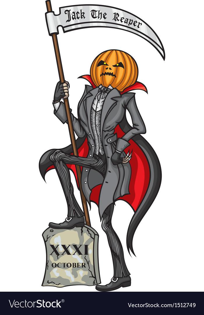 Halloween pumpkin head jack the reaper vector   Price: 3 Credit (USD $3)