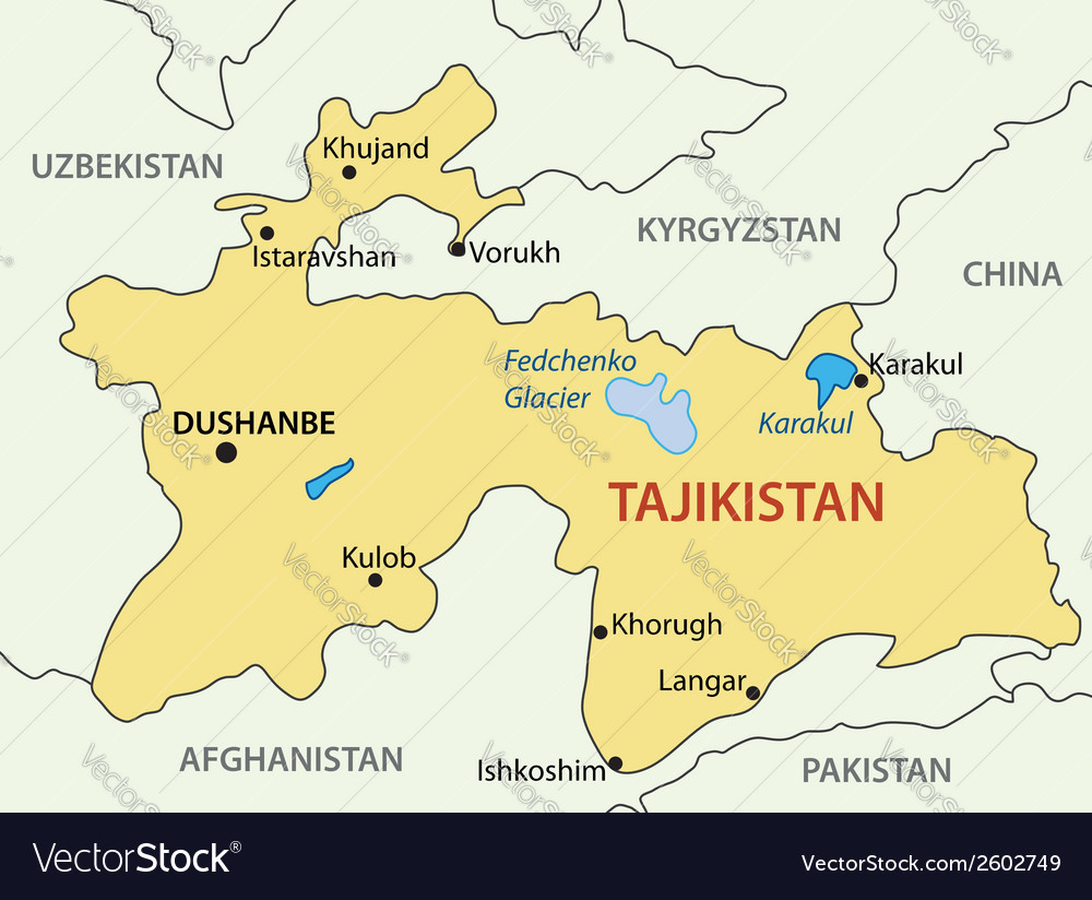 Republic of tajikistan - map vector | Price: 1 Credit (USD $1)