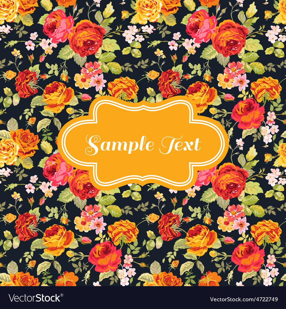 Retro flower card - for invitation congratulation vector | Price: 1 Credit (USD $1)